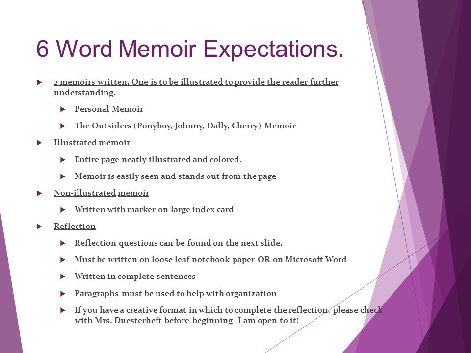 help writing 6 word memoirs game