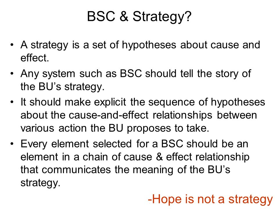 bsc cause and effect relationship