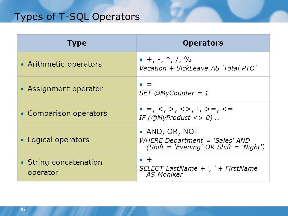 T sql binary operators