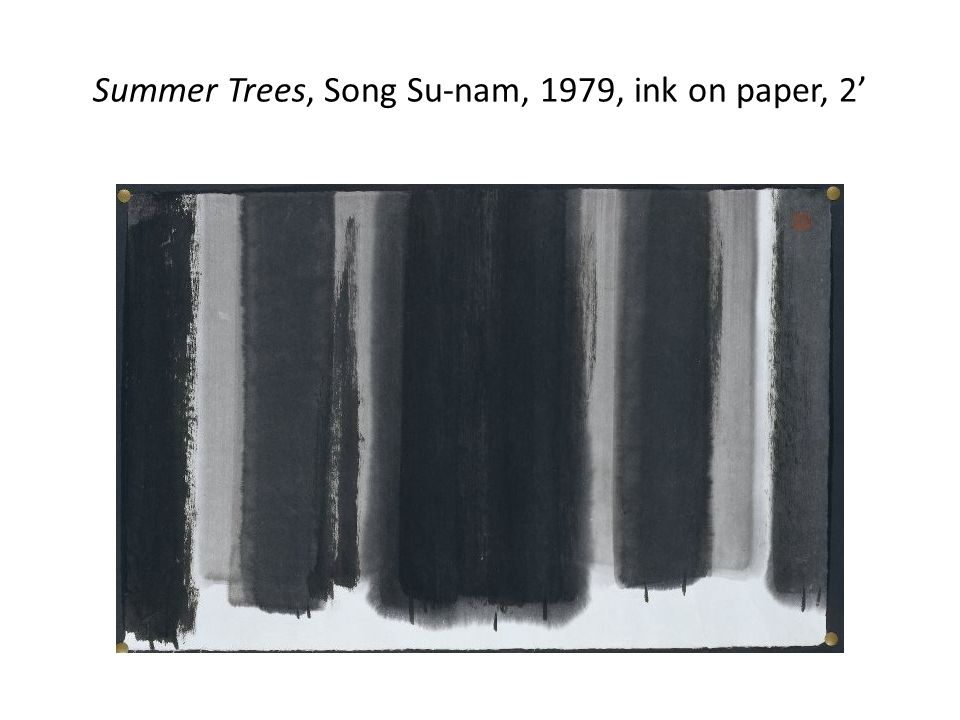 Summer Trees, Song Su-nam, 1979, ink on paper, 2'