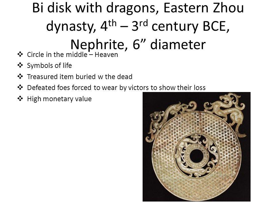 Bi disk with dragons, Eastern Zhou dynasty, 4th – 3rd century BCE, Nephrite, 6 diameter