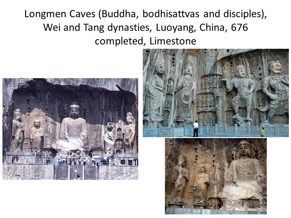 Longmen Caves (Buddha, bodhisattvas and disciples), Wei and Tang dynasties, Luoyang, China, 676 completed, Limestone