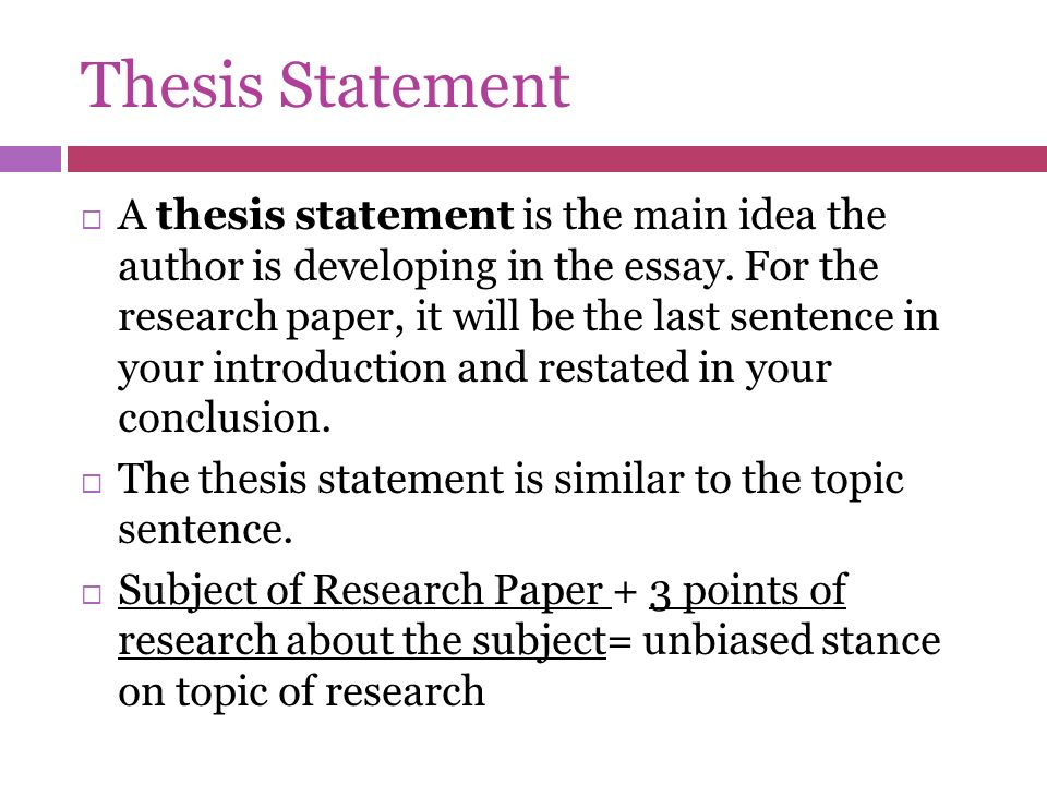 Thesis for a Research Paper Made Easy