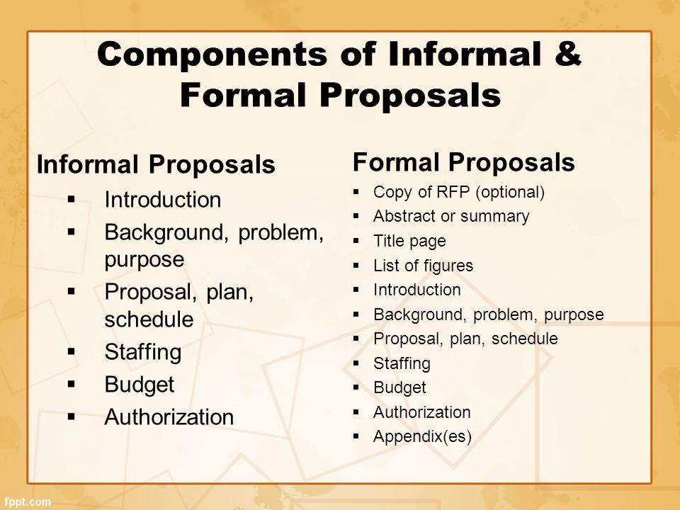 Components Of Informal U0026 Formal Proposals  Informal Proposal