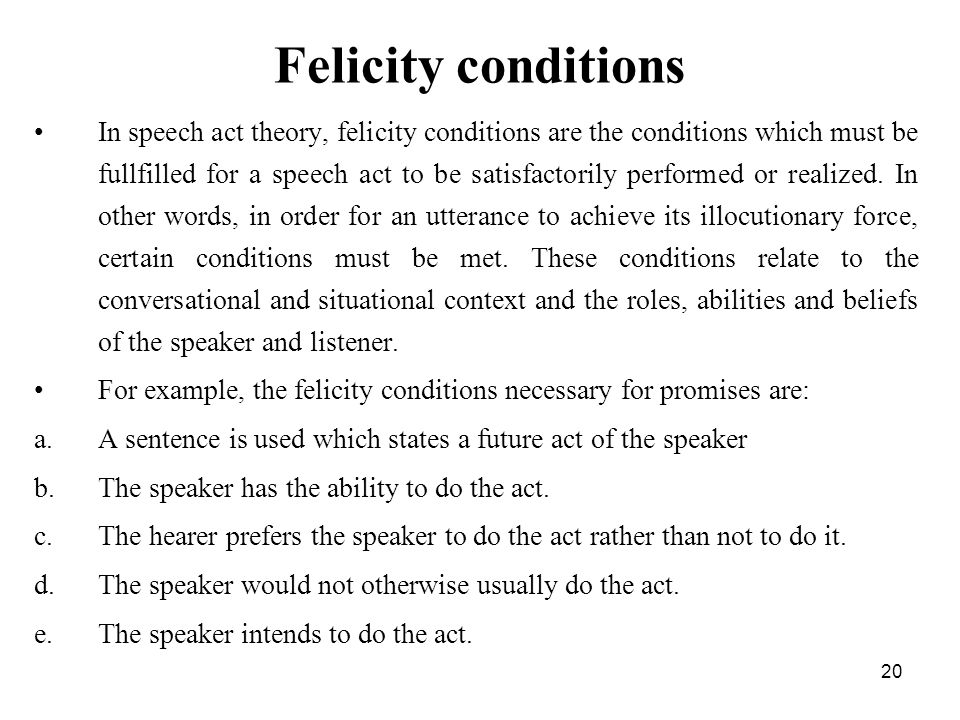 Awesome Felicity Conditions