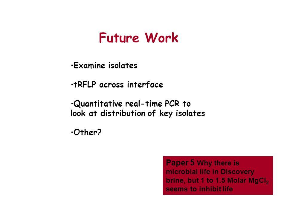 Future Work Examine isolates tRFLP across interface
