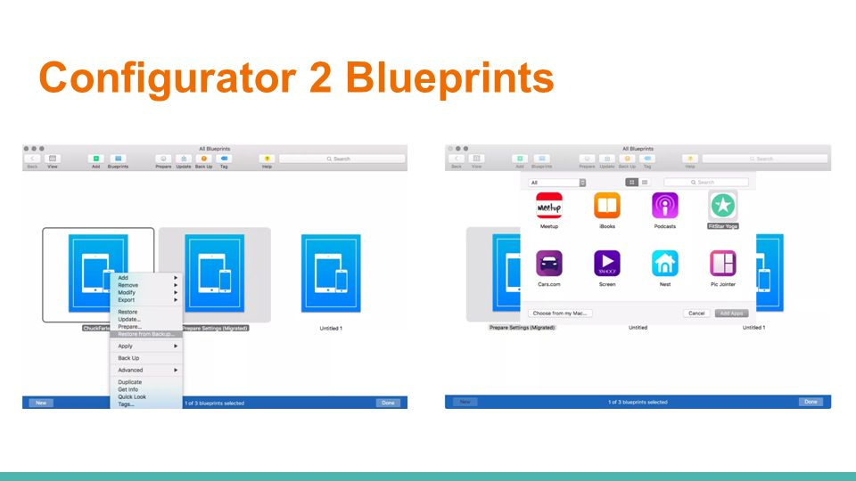 Apple configurator 2 whats new in ppt video online download 16 configurator 2 blueprints malvernweather Images