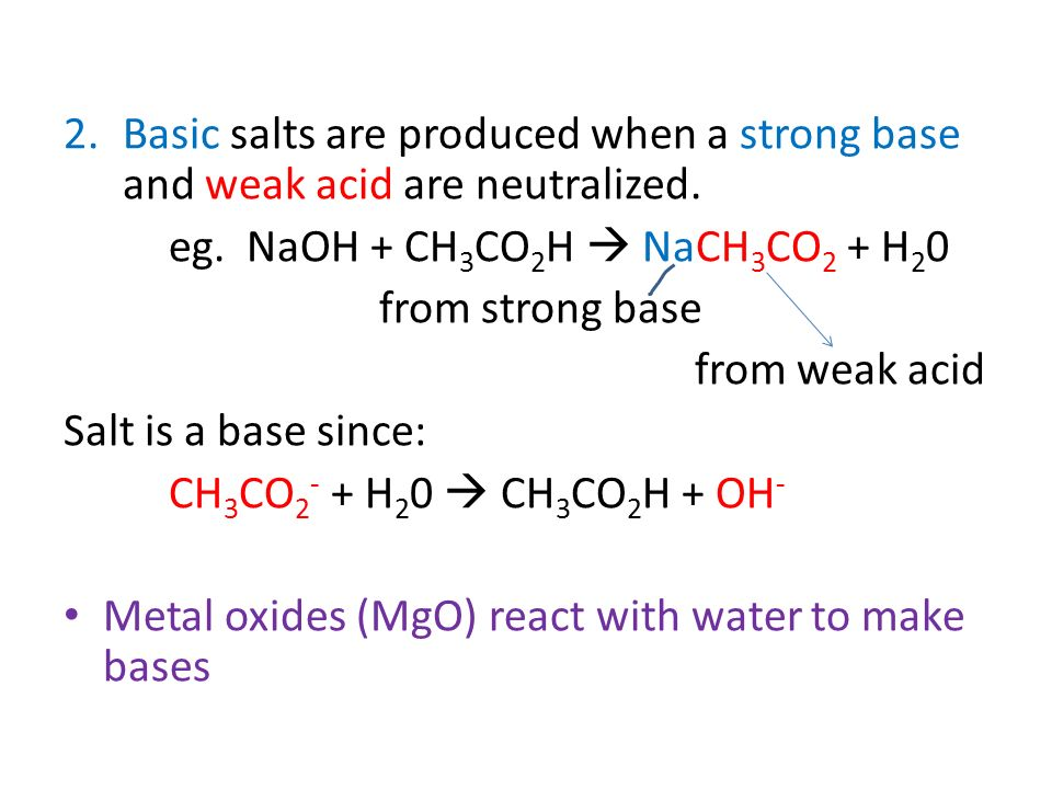 metal oxides and water make bases in a relationship