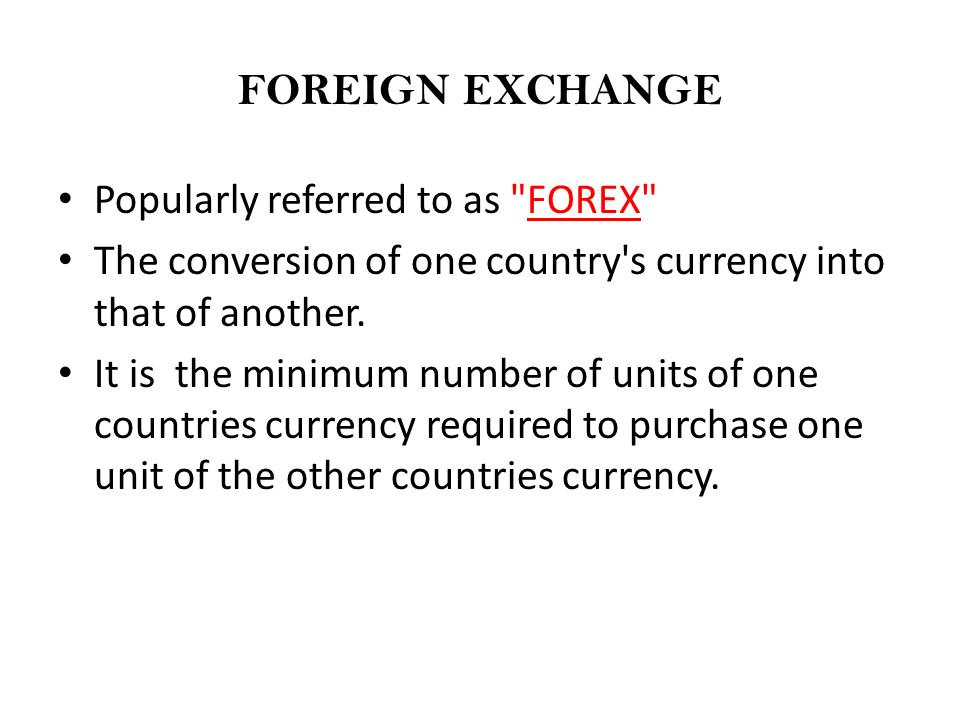 Foreign exchange purchase