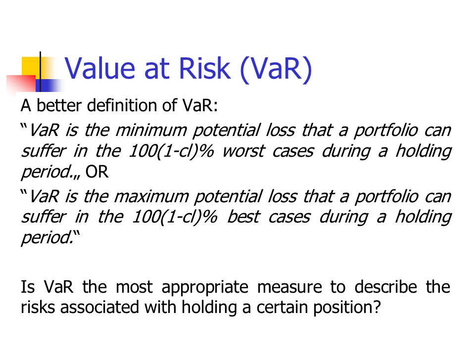 Value at risk definition