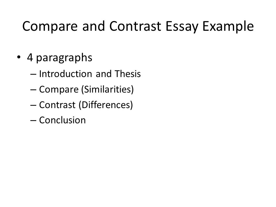 comparison and contrast essay sample Image titled write a compare and contrast essay step 20 1 write a body paragraph for a point-by-point compare and contrast essay here is a sample paragraph for a body paragraph that uses point-by-point comparison: when one is deciding whether to go to the beach or the.