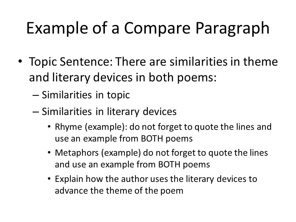 How do I write a thesis to compare/contrast two poems.?