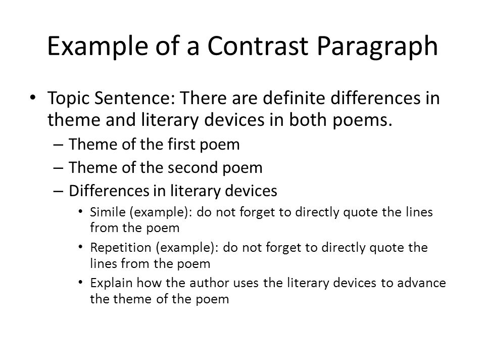good topic sentence for a compare and contrast essay