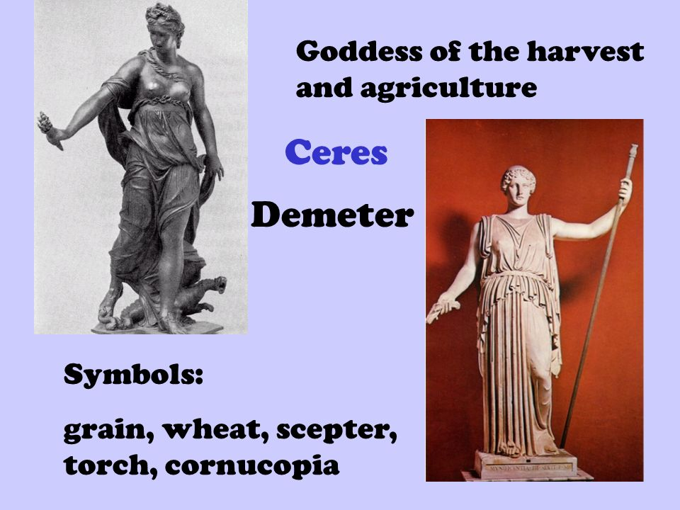 demeter goddess of agriculture essay Demeter taught mankind the arts of agriculture: sowing seeds, ploughing, harvesting, etc she was especially popular with rural folk, partly because they most benefited directly from her assistance, and partly because rural folk are more conservative about keeping to the old ways.