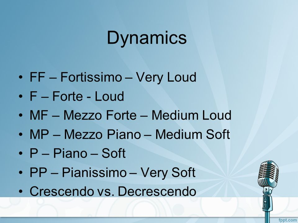 Dynamics FF – Fortissimo – Very Loud F – Forte - Loud