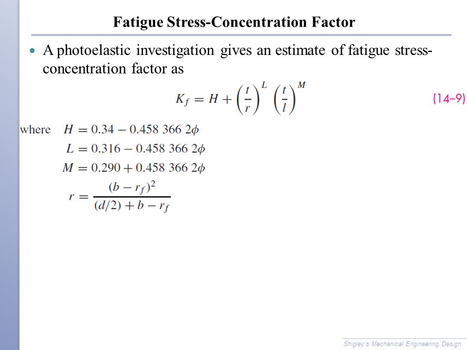 Fatigue Stress-Concentration Factor