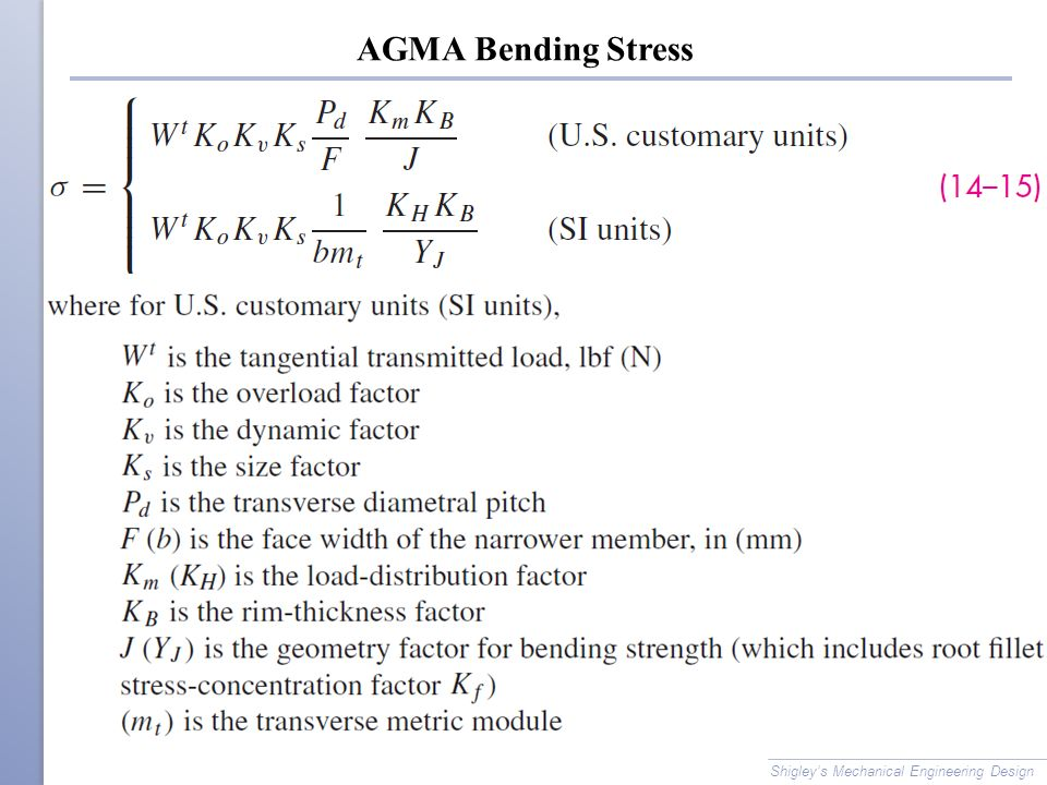 AGMA Bending Stress Shigley's Mechanical Engineering Design