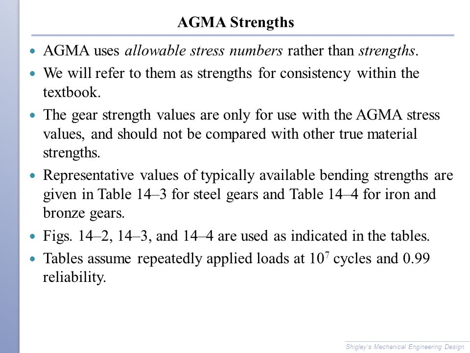 AGMA uses allowable stress numbers rather than strengths.