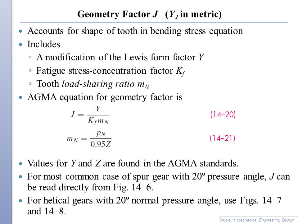 Geometry Factor J (YJ in metric)