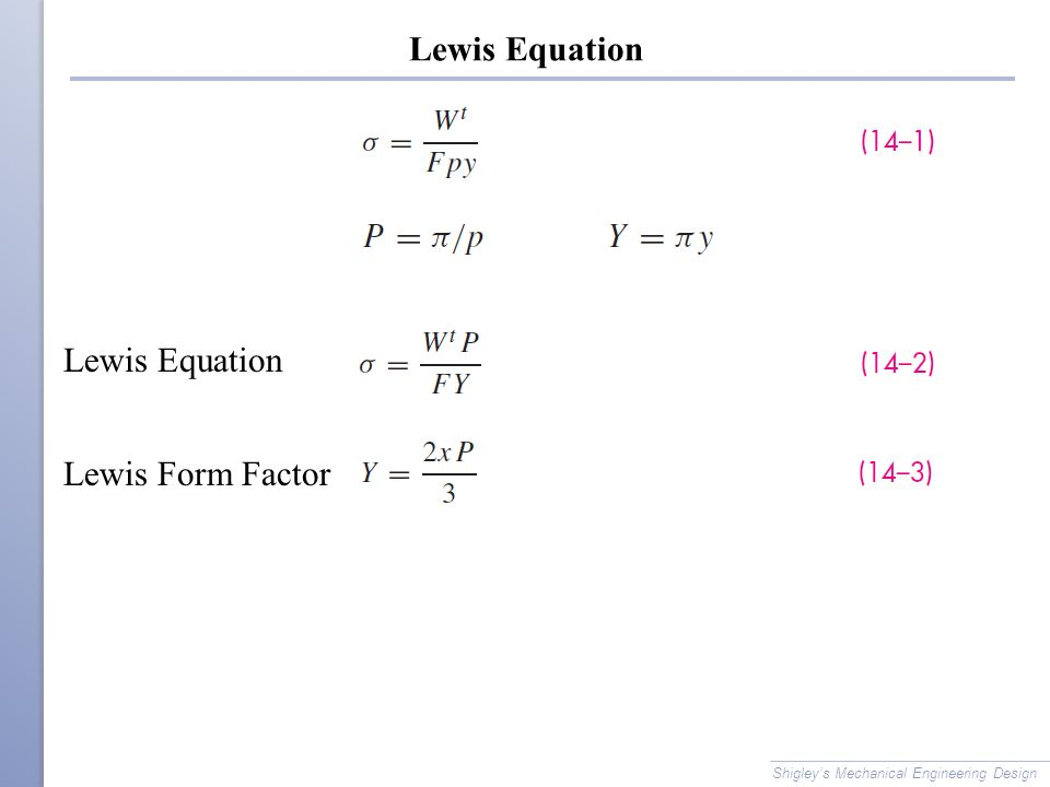 Lewis Equation Lewis Equation Lewis Form Factor