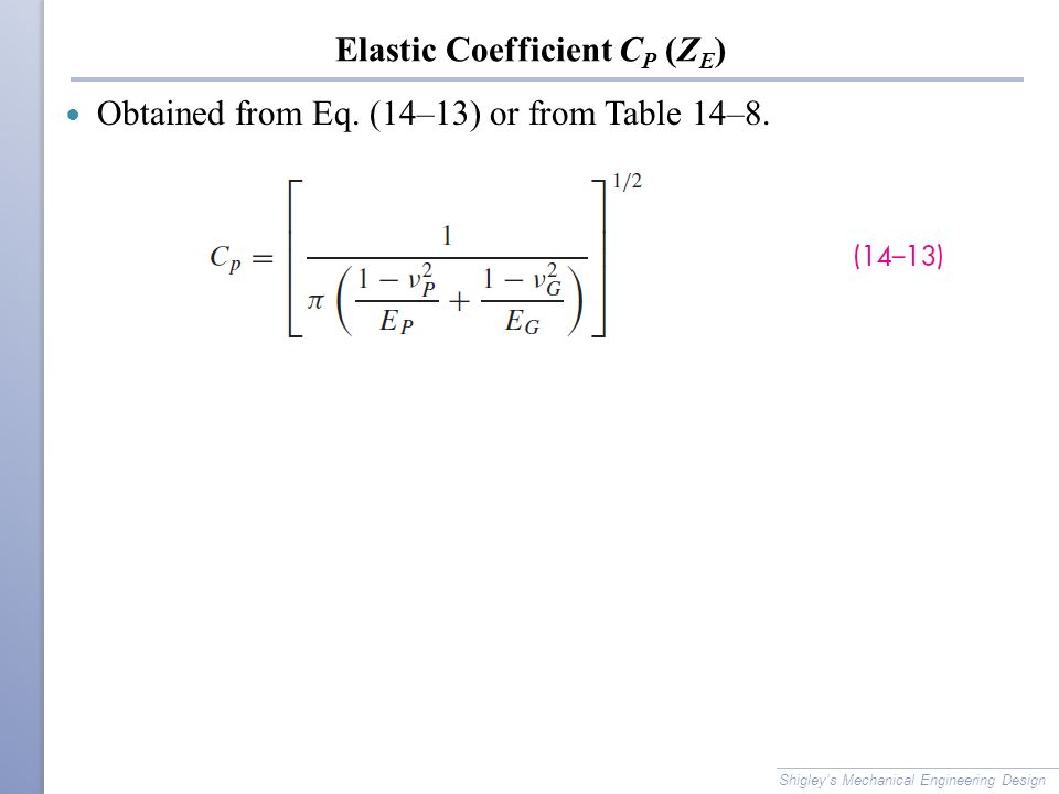 Elastic Coefficient CP (ZE)