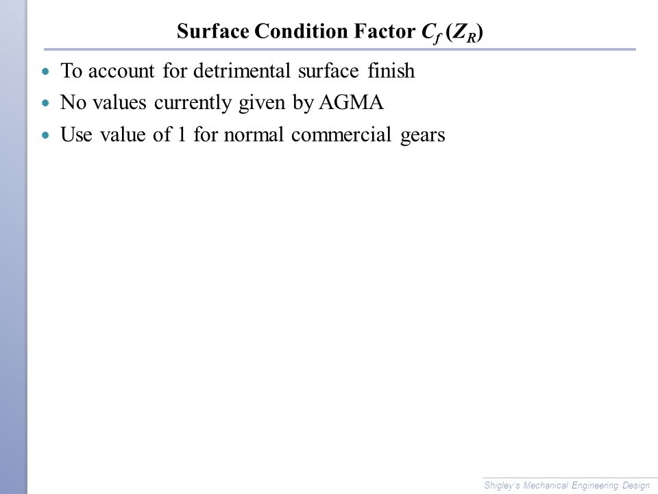 Surface Condition Factor Cf (ZR)