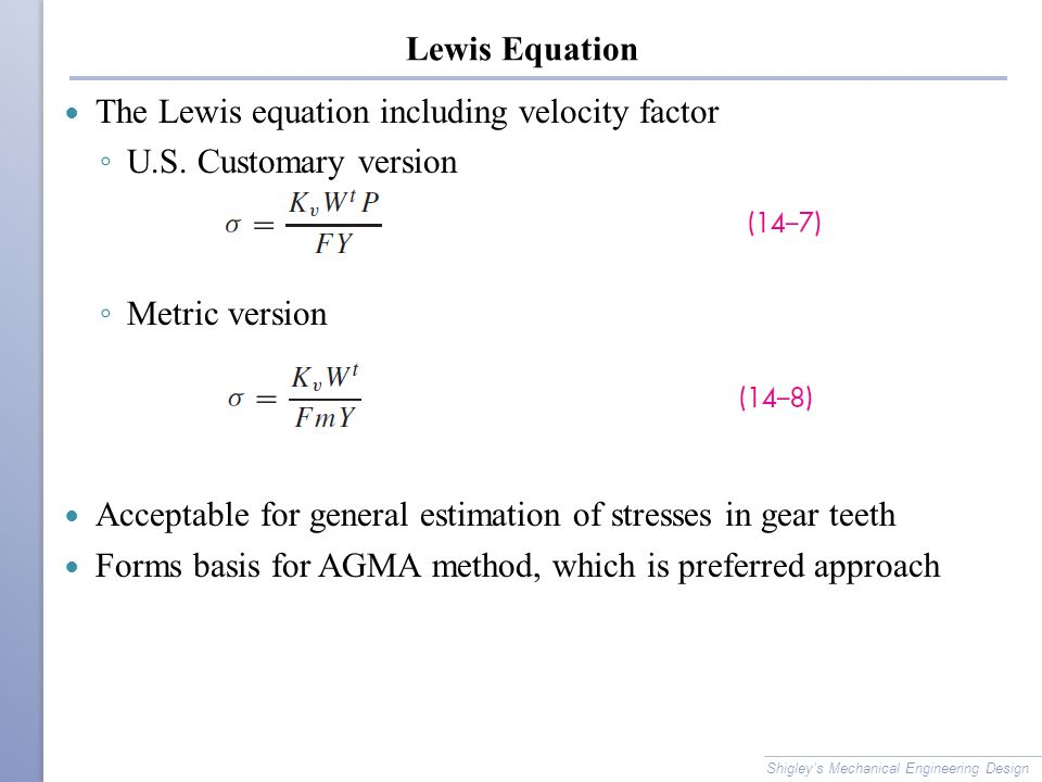 The Lewis equation including velocity factor U.S. Customary version