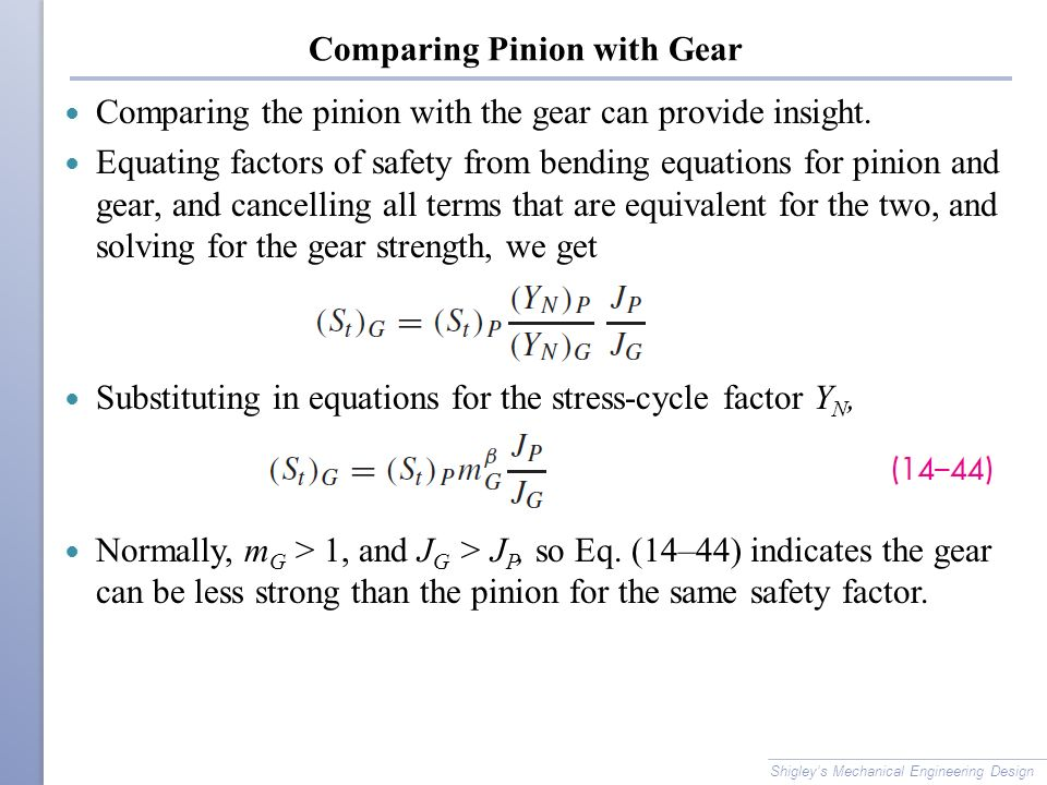 Comparing Pinion with Gear