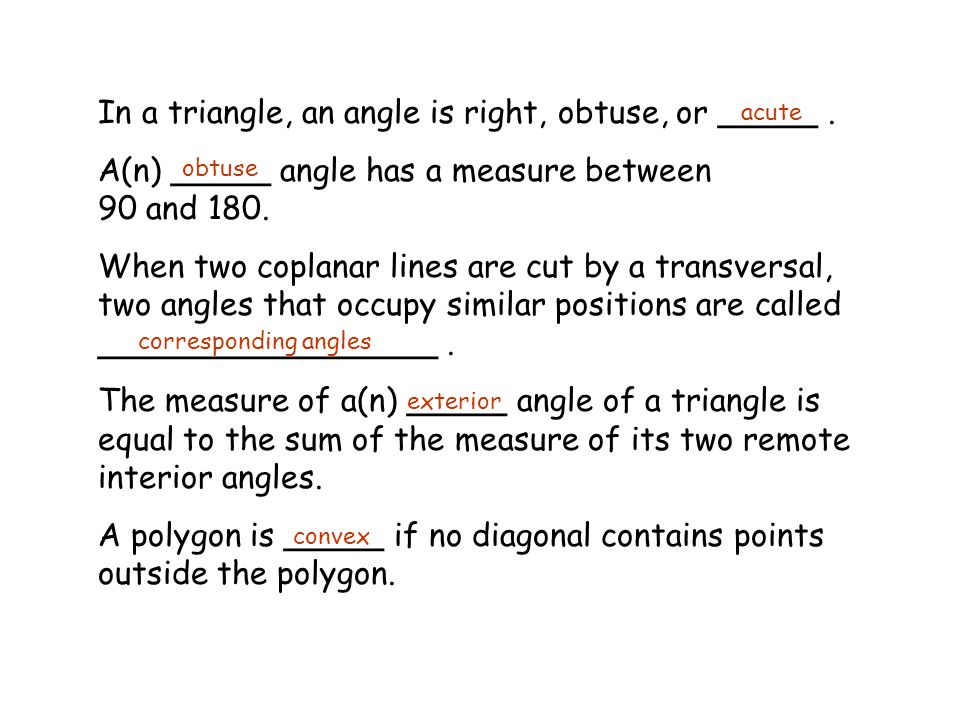 Classify the triangle by the angles and the sides ppt - The exterior angle of a triangle is equal to ...