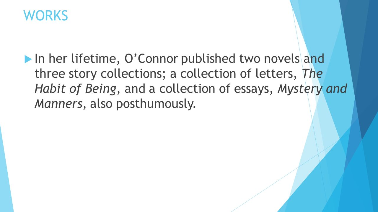 """essays on flannery o connors stories I saw the story when it was first published as """"living with a peacock"""" in holiday   the essay was also later published in the collection of o'connor's non-fiction."""