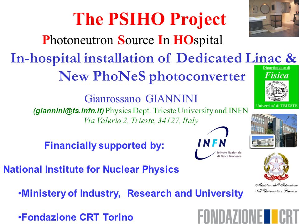 The PSIHO Project In-hospital installation of Dedicated Linac &