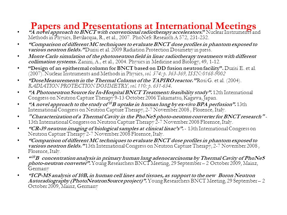 Papers and Presentations at International Meetings