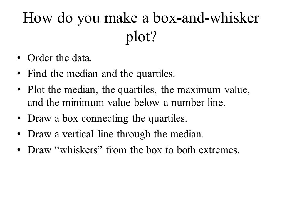 Lesson 34 box and whisker plots ppt video online download 6 how do you make a box and whisker plot ccuart Images
