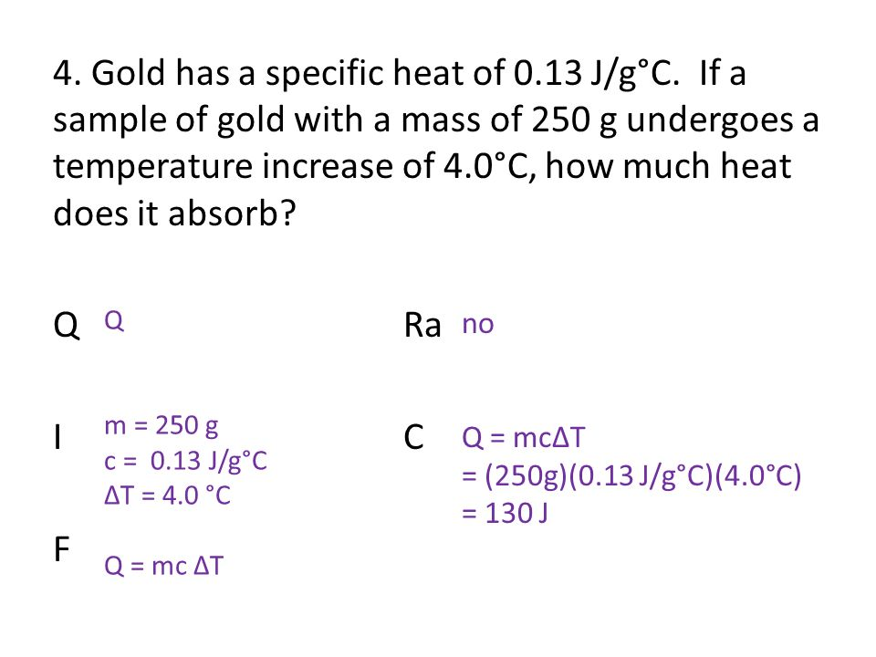 Specific Heat Q m c T ppt video online download – Specific Heat Worksheet with Answers
