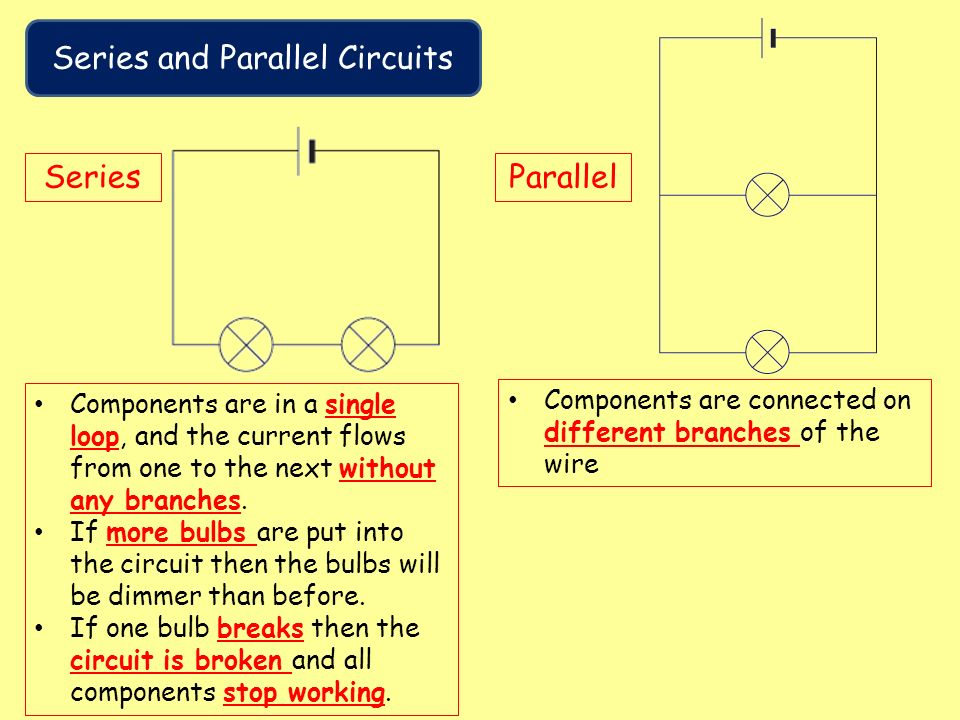 series and parallel circuits serve different On a series circuit they should equal follow the rules for parallel circuits this sets us up to get the current in all the different segments of the circuit.