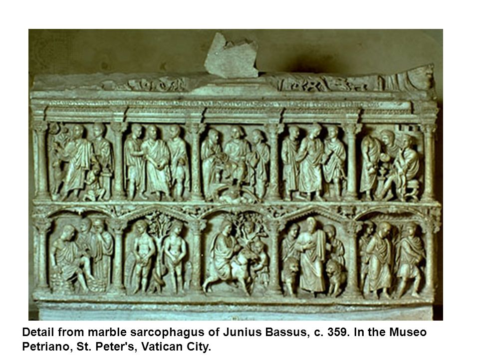 Detail from marble sarcophagus of Junius Bassus, c. 359