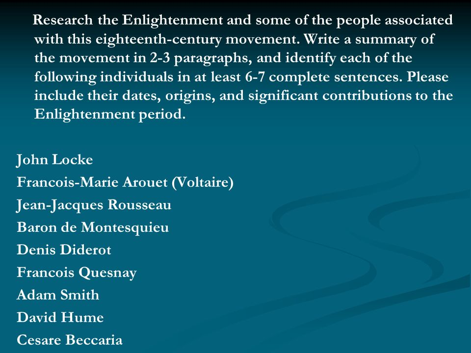 the period of enlightenment A short summary of history sparknotes's the enlightenment (1650–1800) this free synopsis covers all the crucial plot points of the enlightenment (1650–1800.