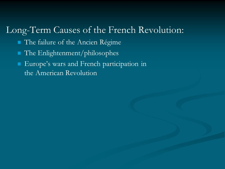 short and long term causes of the french revolution essay Long-term causes of the french revolution:  short-term causes of the french revolution: king louis xvi  causes of the spanish civil war: essay planning generator.