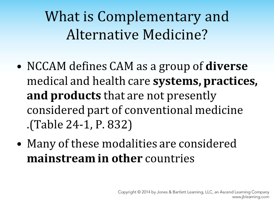 comparing and contrasting alternative and convential medicine Regulation of alternative medicine jump to navigation jump to search this article's lead section may be  'complementary' generally refers to using a non-mainstream approach together with conventional medicine 'alternative' refers to using a non-mainstream approach in place of conventional medicine true alternative medicine is not common.