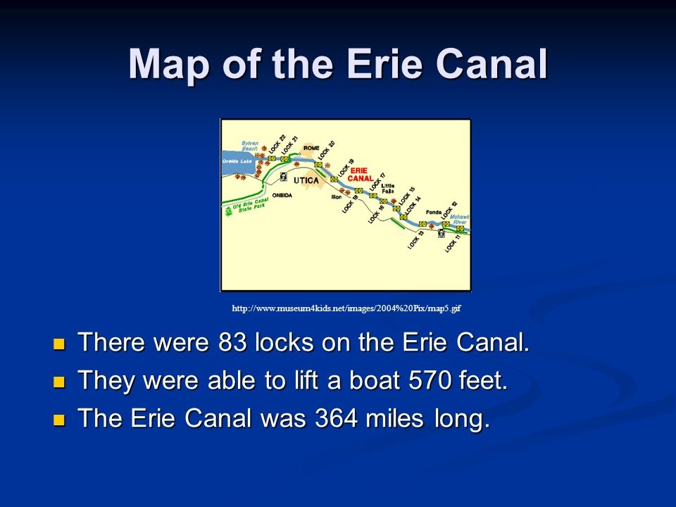 Map of the Erie Canal There were 83 locks on the Erie Canal.
