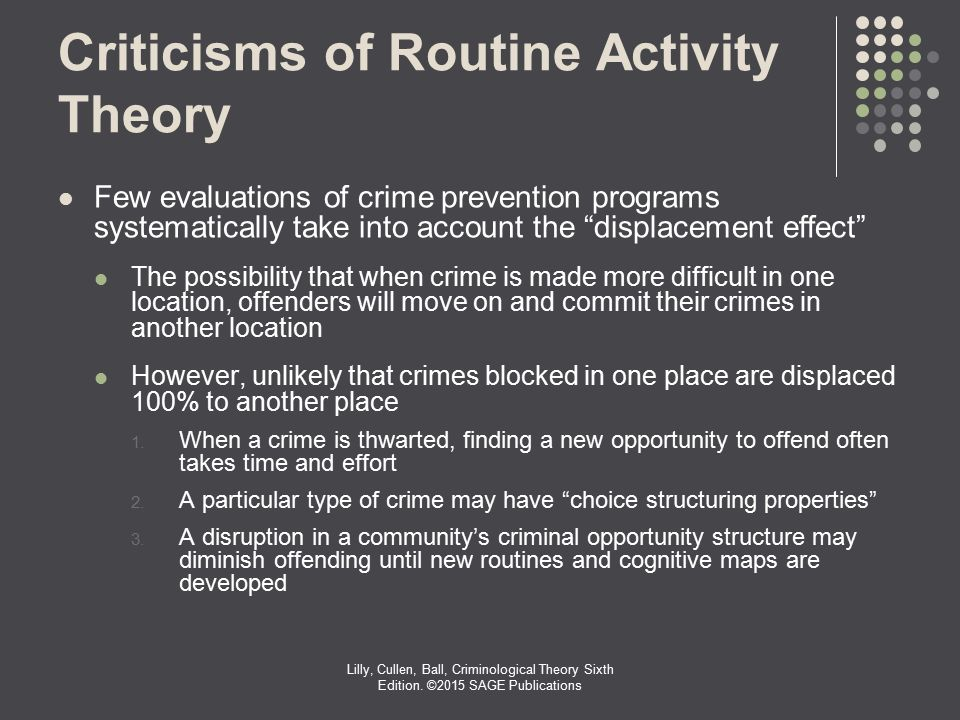 routine activity theory Dependent on the notions of lifestyle exposure theory and opportunity, routine  activity theory argues that it is the routine activity of young males which explains.