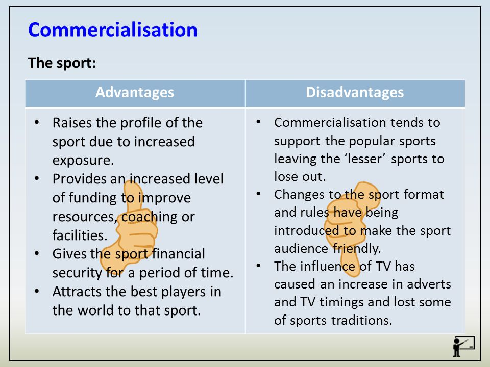 Is the commercialisation of sports good or bad?