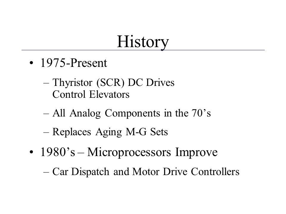 History 1975-Present 1980's – Microprocessors Improve