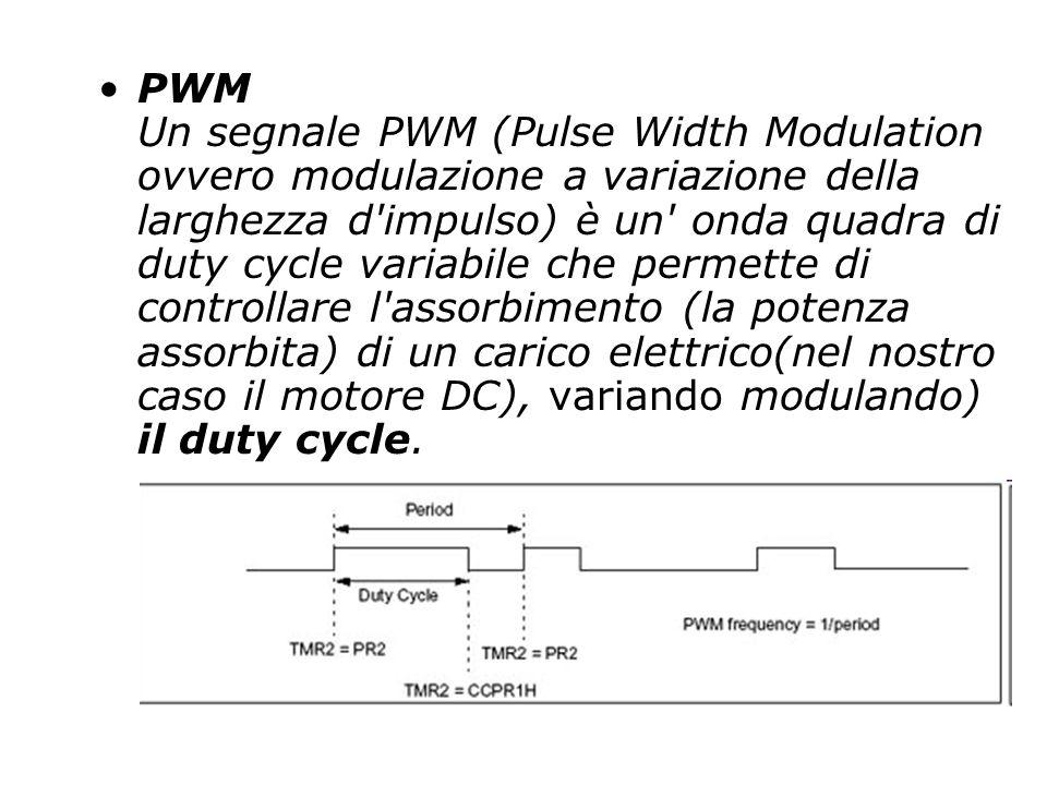 PWM Un segnale PWM (Pulse Width Modulation ovvero modulazione a variazione della larghezza d impulso) è un onda quadra di duty cycle variabile che permette di controllare l assorbimento (la potenza assorbita) di un carico elettrico(nel nostro caso il motore DC), variando modulando) il duty cycle.