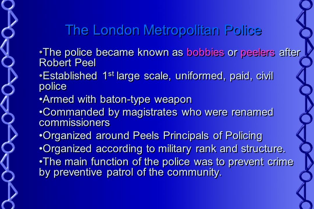 peels principals, established with the metropolitan police act of 1829 essay Informally known as 'the met', the metropolitan police act 1829 established the first structured system of law enforcement policing had previously been the responsibility of unpaid parish.