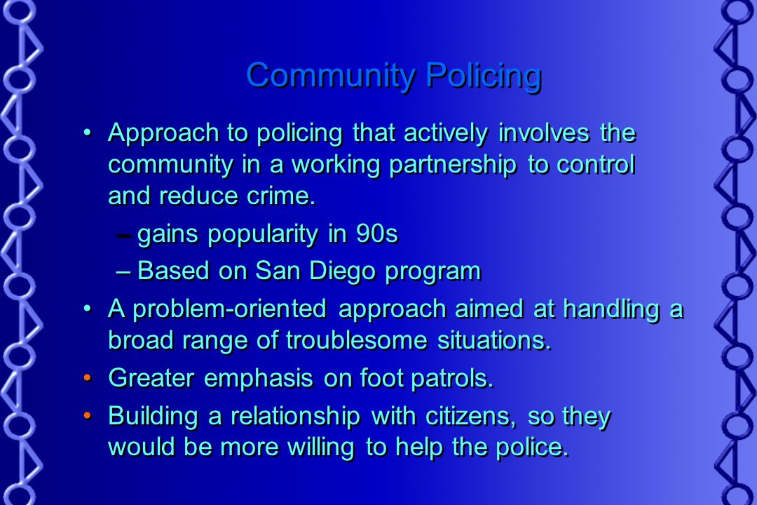 compare and contrast community orientd policing and problem oriented policing Source: (2003) in, elmar weitekamp and hans-jurgen kerner, eds restorative  justice in context: international practice and directionsdevon, uk and portland .