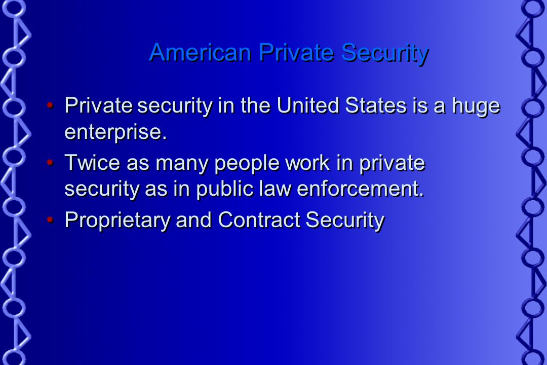 history of private security in the In the ever-changing world of private security, protection officers' roles and responsibilities are quickly adapting to a heightened security environment.