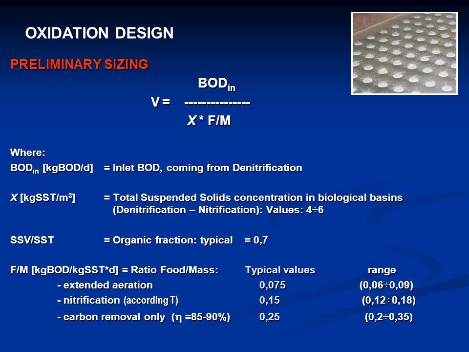OXIDATION DESIGN PRELIMINARY SIZING BODin V = --------------- X * F/M