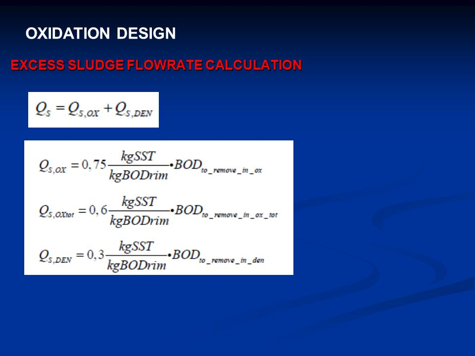 EXCESS SLUDGE FLOWRATE CALCULATION