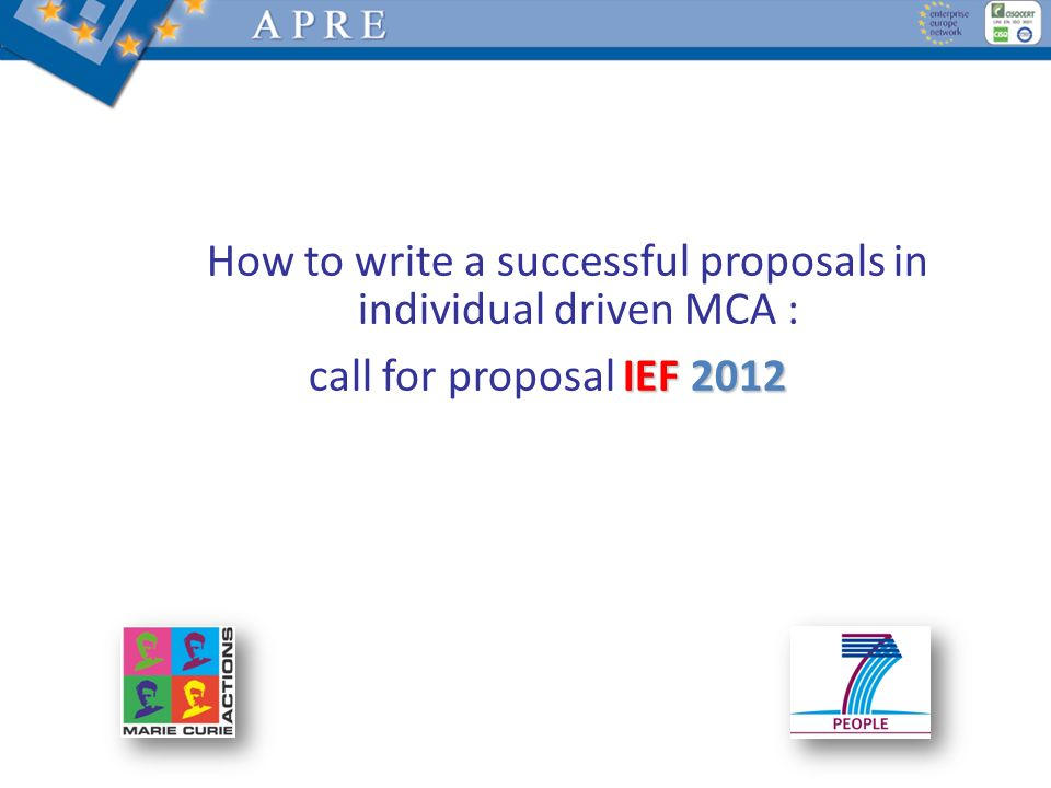 How to write a successful proposals in individual driven MCA :